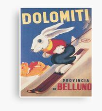 Lienzo Dolomitas, Italia, Ski Bunny Vintage Travel Ski Poster