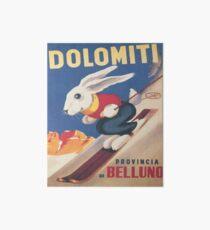 Lámina rígida Dolomitas, Italia, Ski Bunny Vintage Travel Ski Poster