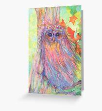 Colourful Owl in a tree Greeting Card