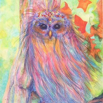 Colourful Owl in a tree by MonicaArtist