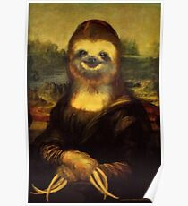 Mona Lisa als Faultier Print Poster
