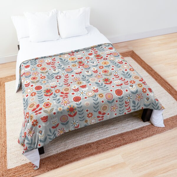 Seamless pattern with flowers. The Scandinavian style. Comforter