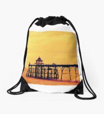 Clevedon Pier, seaside at sunset in Somerset  Drawstring Bag