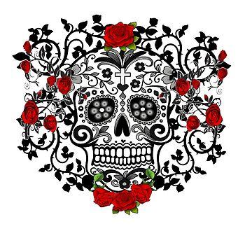 Black Sugar Skull & Roses by PugD