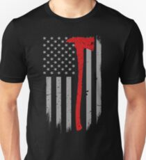 49d92ef5 Thin Red Line Axe Firefighter Flag Slim Fit T-Shirt