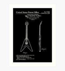 Gibson Flying V Guitar Patent White Art Print