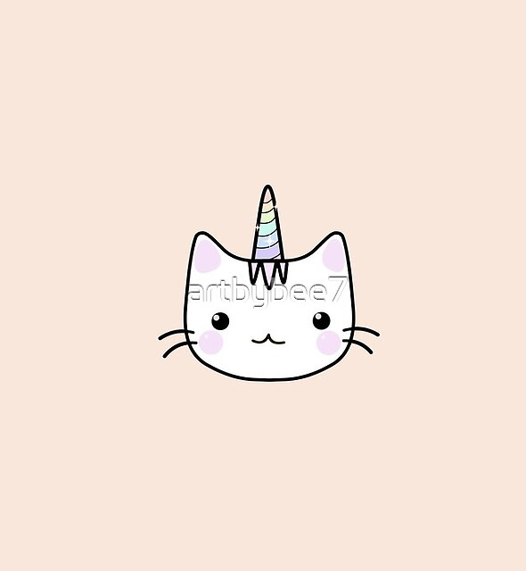 Cute Kawaii Unicorn Cat Cartoon Orange by artbybee7