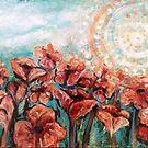 Orange poppy field by Cheryle  Bannon