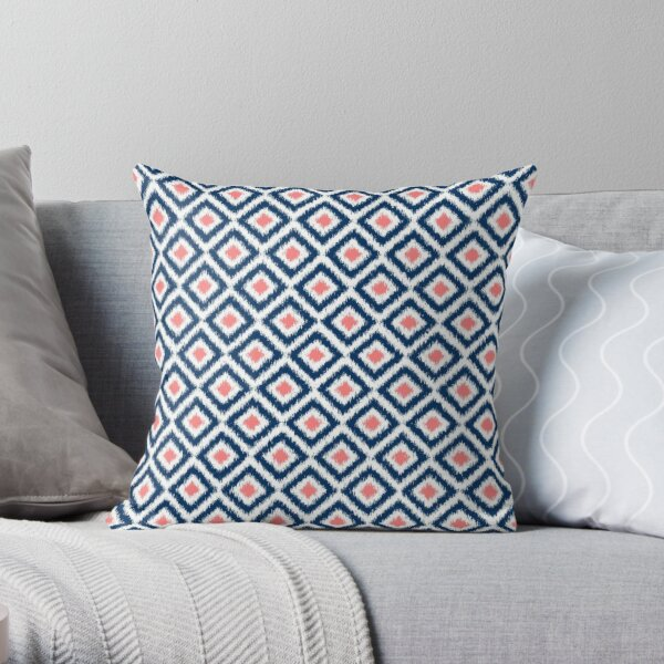 Navy and Coral Ikat Pattern Throw Pillow