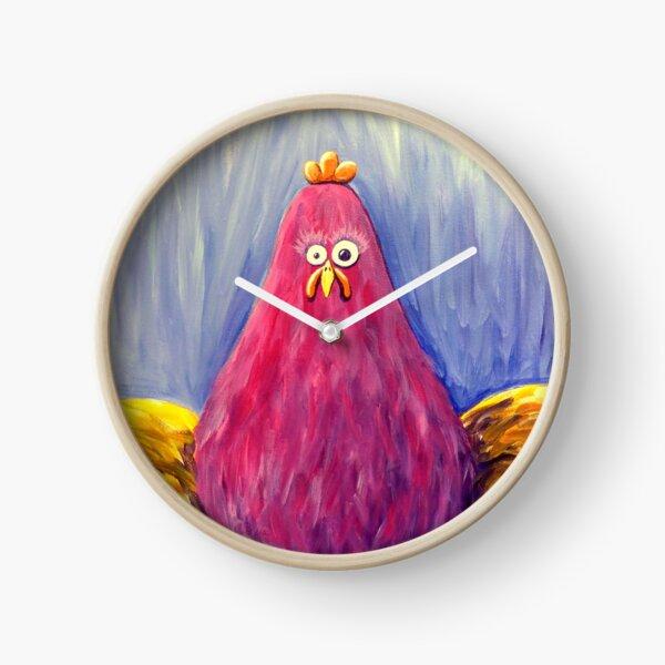 Fuchsia Chicken on Periwinkle Clock