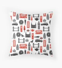 London Block Print - Black and Red by Andrea Lauren Throw Pillow
