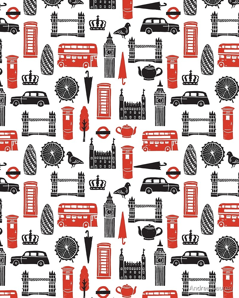 London Block Print - Black and Red by Andrea Lauren by Andrea Lauren