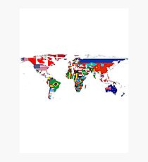 The World Flag Map Photographic Print