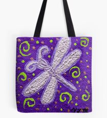 Silver Dragonfly on Purple Tote Bag