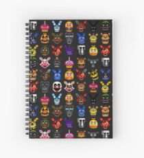 NEW - FNAF Multiple Animatronics - (Dec 2016) - Pixel art Spiral Notebook