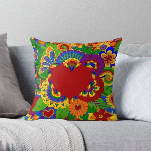 Rainbow Flowers and Hearts Art Throw Pillow