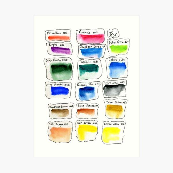 Watercolor Test Pallette Art Print