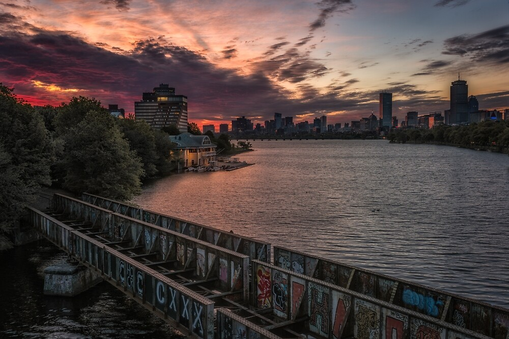 Dawn light on Boston and the Charles River. by mattmacpherson