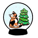 Calico Cat Christmas Snowglobe by GillianMeilin