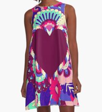 Purple and Pink Hearts and Flowers Art A-Line Dress