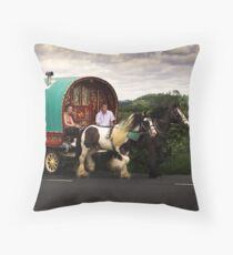 Two Horse Power Throw Pillow
