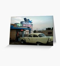Blue Swallow Motel Neon And Classic Car Tucumcari Greeting Card