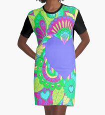 Artistic Hearts and Flowers in Pastels  Graphic T-Shirt Dress