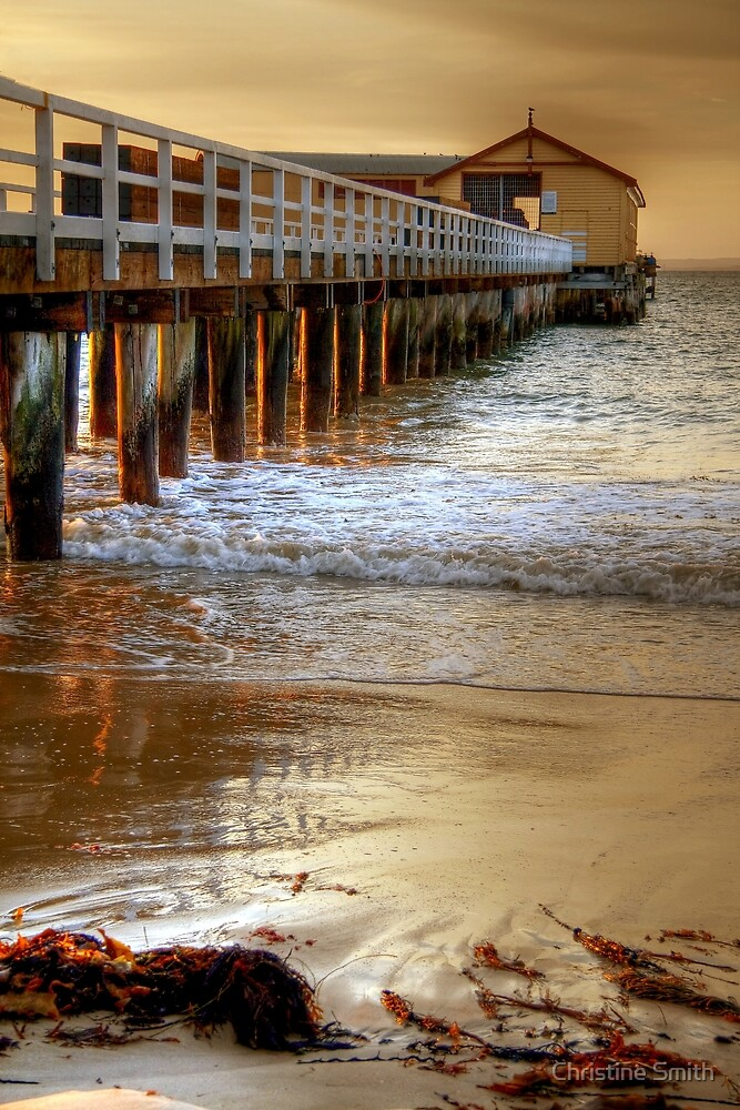 Light on the Pylons, Queenscliff, Victoria by Christine Smith