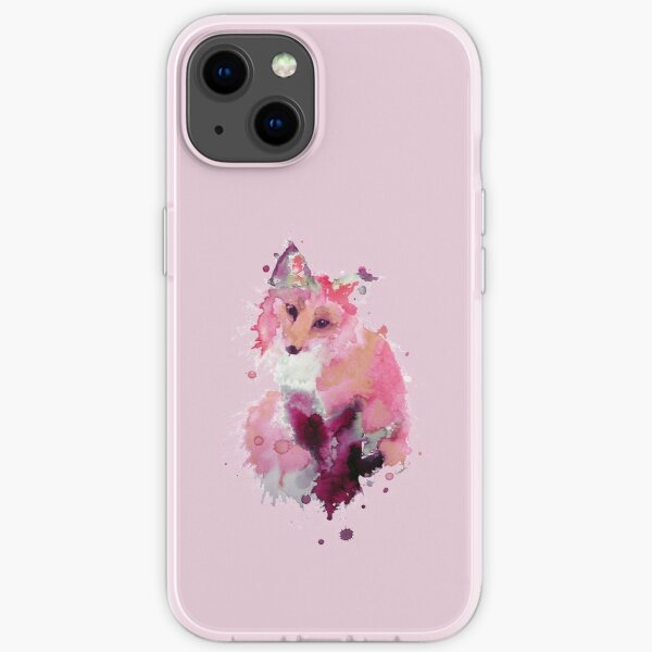 Pastel Pink Watercolor Fox iPhone Soft Case