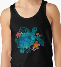 Sea Turtle with Flowers Tank Top