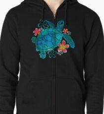 Sea Turtle with Flowers Zipped Hoodie