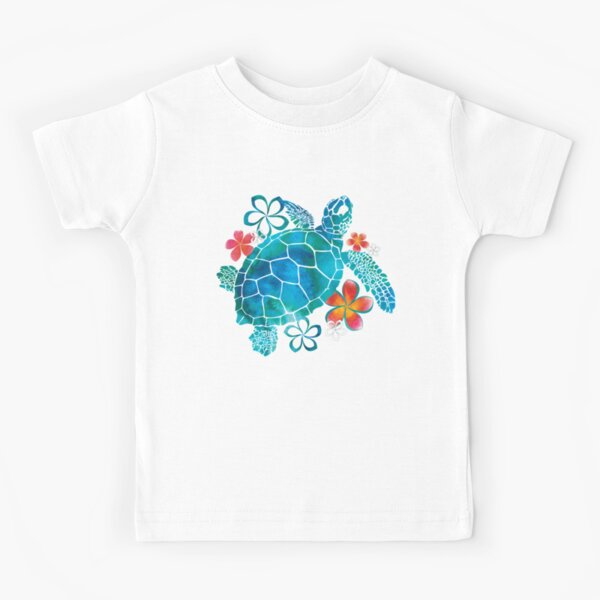 Sea Turtle with Flowers Kids T-Shirt