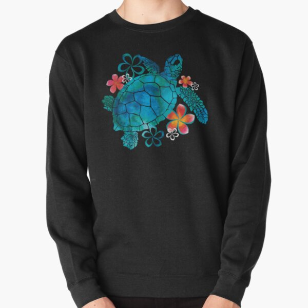 Sea Turtle with Flowers Pullover Sweatshirt