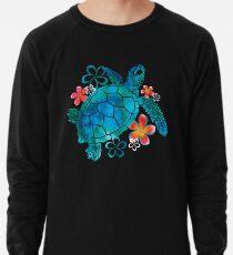 Meeresschildkröte mit Blumen Leichtes Sweatshirt