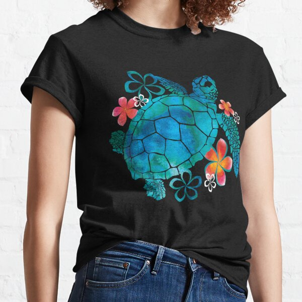 Sea Turtle with Flowers Classic T-Shirt