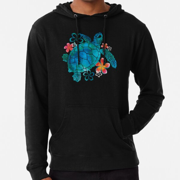 Sea Turtle with Flowers Lightweight Hoodie