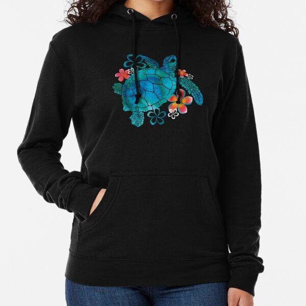 Sea Turtle with Flowers Lightweight Hoodie