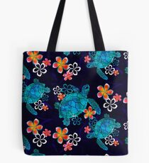 Sea Turtle with Flowers Tote Bag