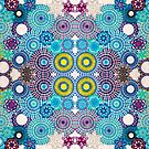 Mirrored Blue Green Spirograph Artwork by RachelEDesigns