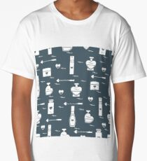 Cute seamless pattern with various accessories for the care of your body and hair: perfume bottles in the shape of a heart, cream, hair spray and other. Long T-Shirt