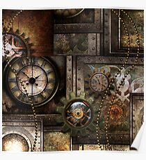 Steampunk, wundervolles Uhrwerk mit Zahnrädern Poster