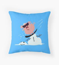 Pistensau - Ski Hooligan Pig VRS2 Throw Pillow