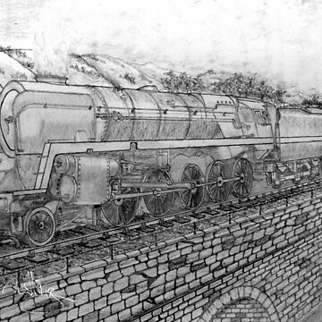 My pencil drawing of The Last of the British Rail Steam Locomotives 1950s (includes full size image for tapestry) by ZipaC