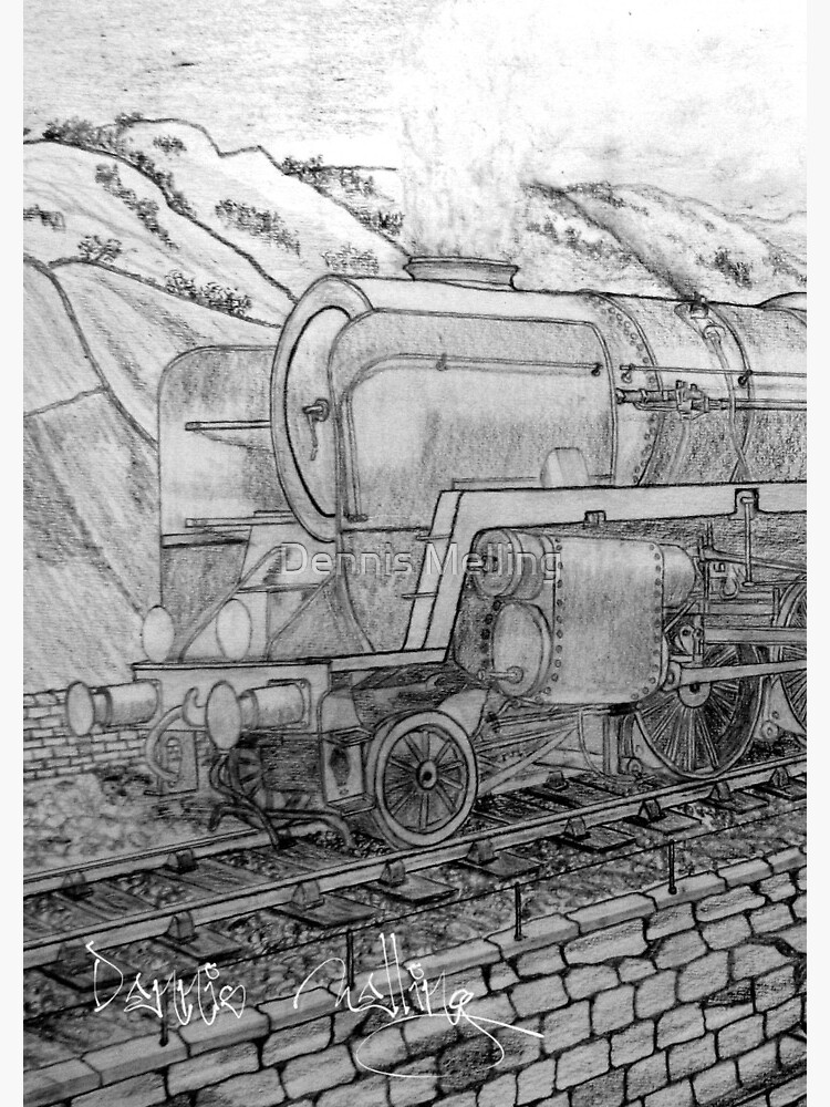 My pencil drawing of The Last of the British Rail Steam Locomotives 1950s    Spiral Notebook