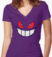 Gengar Monster Purple Pokeball Women's Fitted V-Neck T-Shirt