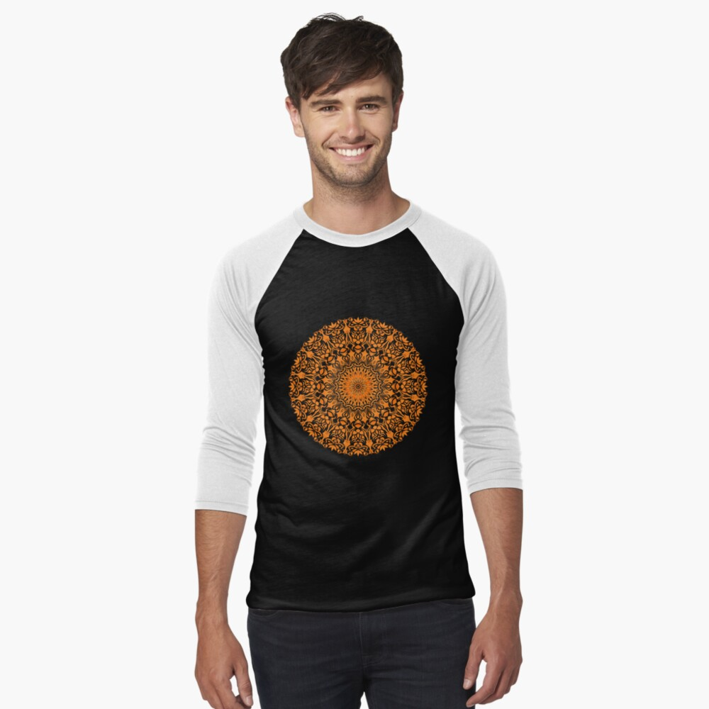 Tribal Mandala Orange Baseballshirt mit 3/4-Arm