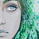 Green Pattern Mermaid Watercolour by Monica Maschke
