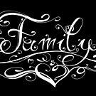 Schriftlogo family, Familie. Tattoo Style. von Christine Krahl