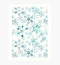 Snowflake Crystals on White Art Print