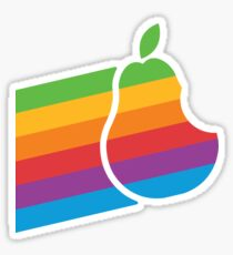 Pear Apple Parody Funny Retro Sticker